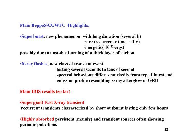 Main BeppoSAX/WFC  Highlights: