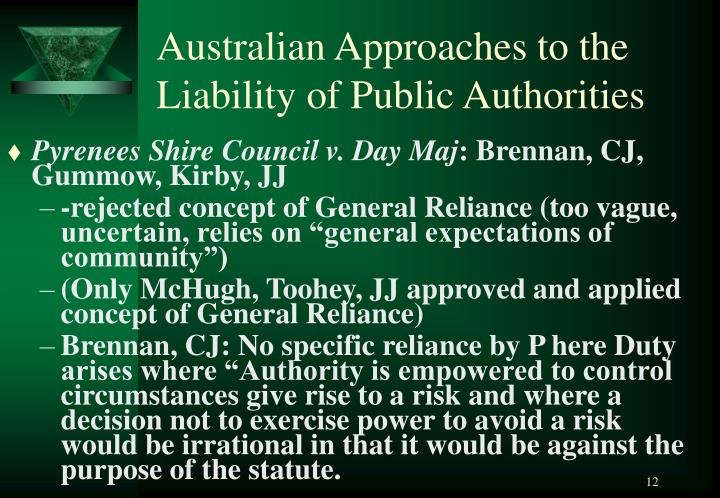 Australian Approaches to the Liability of Public Authorities