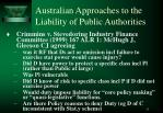 australian approaches to the liability of public authorities3