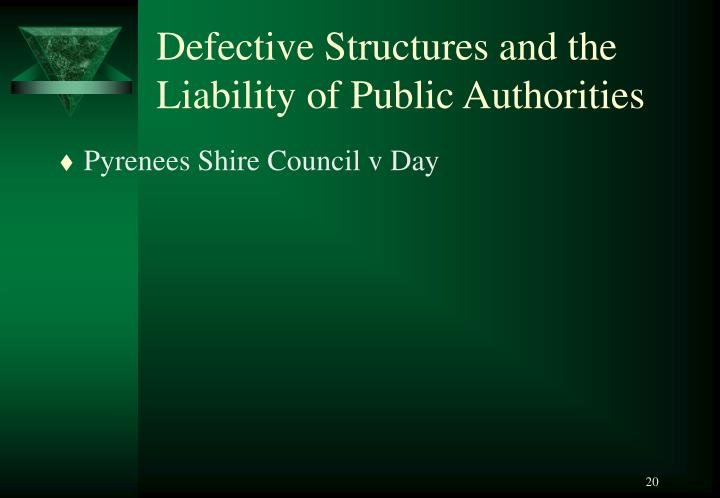 Defective Structures and the Liability of Public Authorities