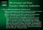 mis feasance and none feasance highway authorities