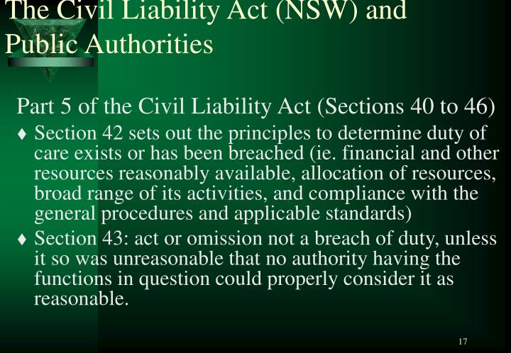The Civil Liability Act (NSW) and Public Authorities