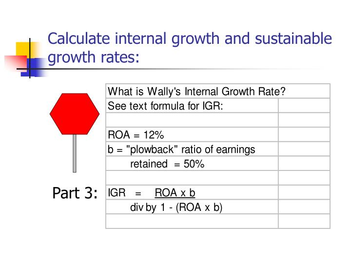 Calculate internal growth and sustainable growth rates: