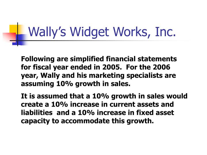 Wally s widget works inc