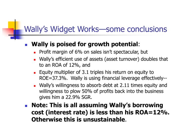 Wally's Widget Works—some conclusions