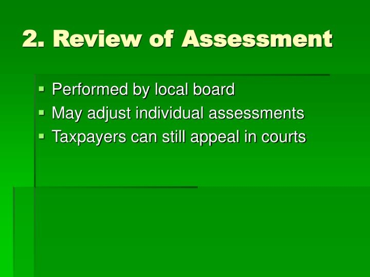 2. Review of Assessment