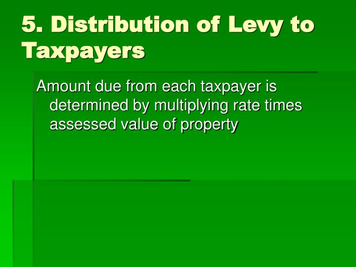 5. Distribution of Levy to Taxpayers