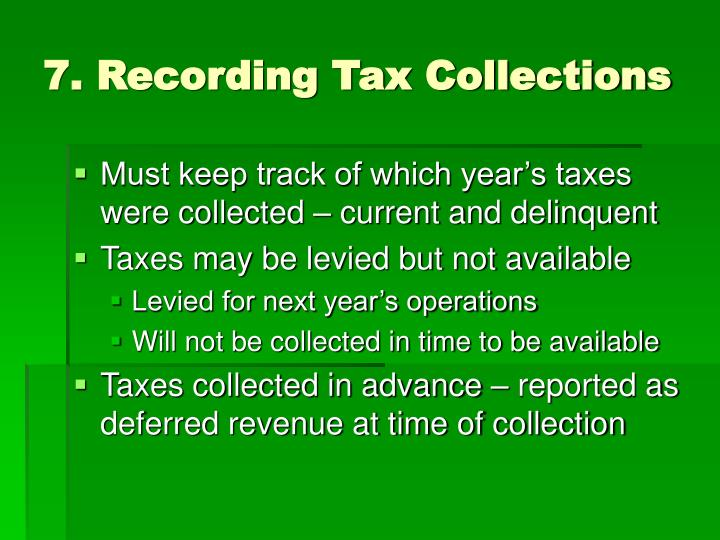 7. Recording Tax Collections