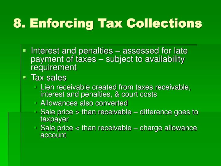 8. Enforcing Tax Collections