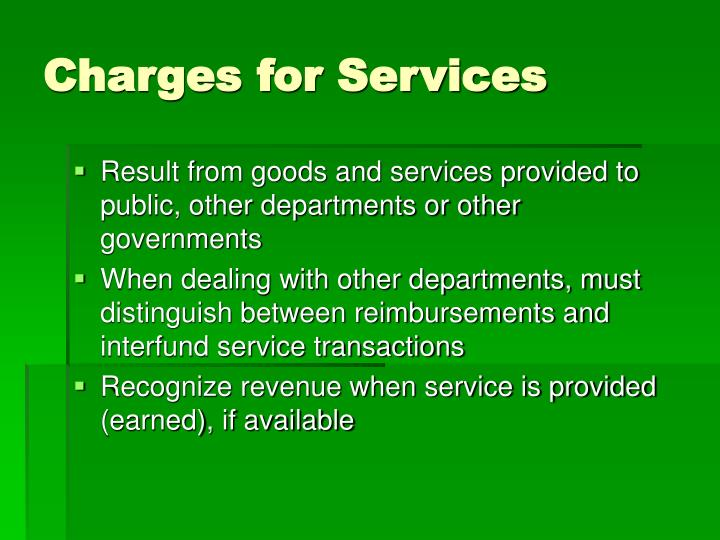 Charges for Services