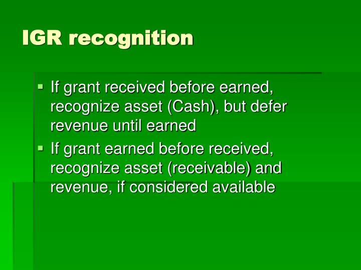 IGR recognition