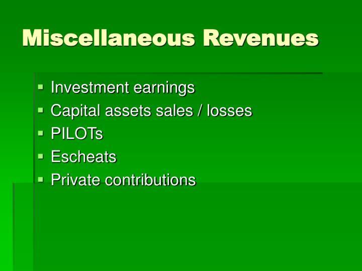 Miscellaneous Revenues