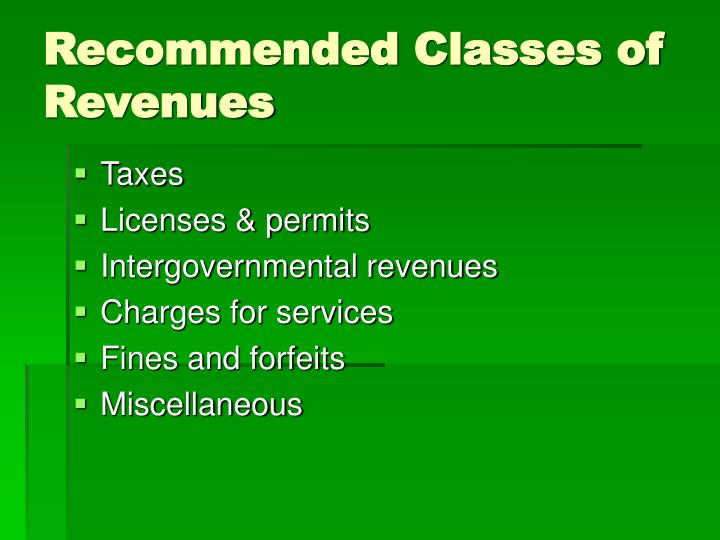 Recommended Classes of Revenues