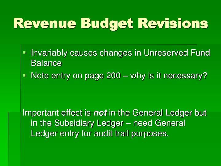 Revenue Budget Revisions