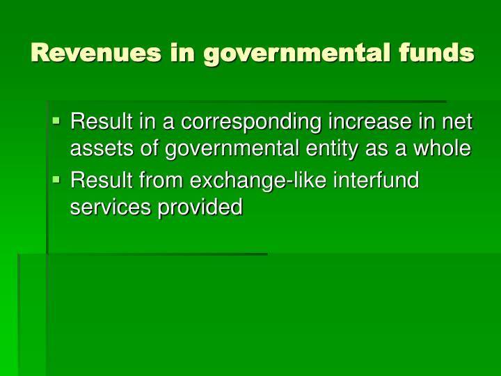Revenues in governmental funds