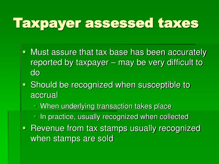 Taxpayer assessed taxes