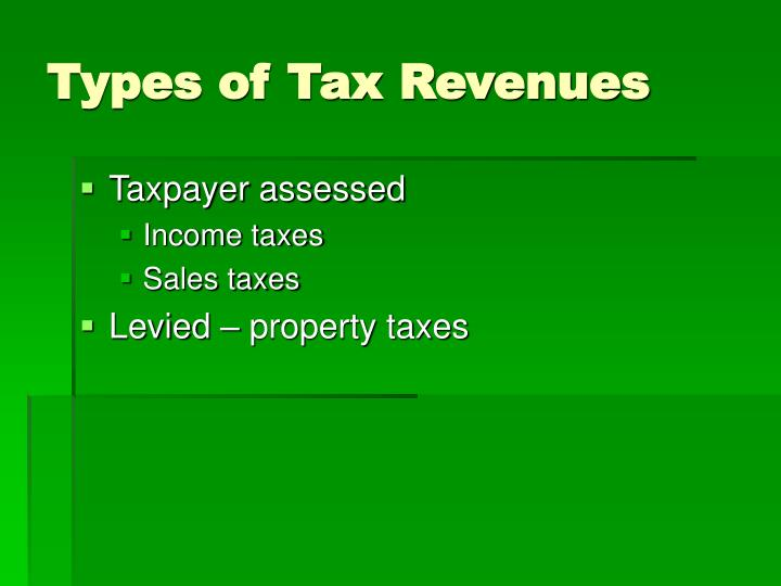 Types of Tax Revenues