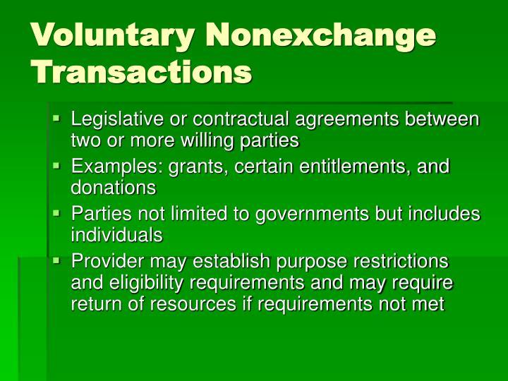 Voluntary Nonexchange Transactions
