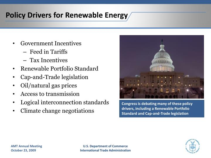 Policy Drivers for Renewable Energy