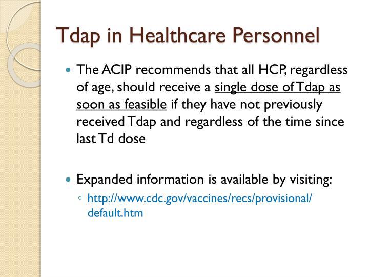 Tdap in Healthcare Personnel