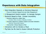 experience with data integration