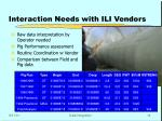 interaction needs with ili vendors