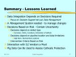 summary lessons learned