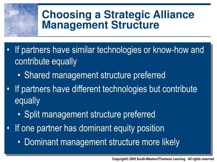 Choosing a Strategic Alliance Management Structure