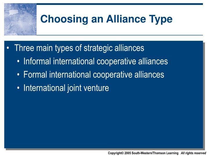 Choosing an Alliance Type
