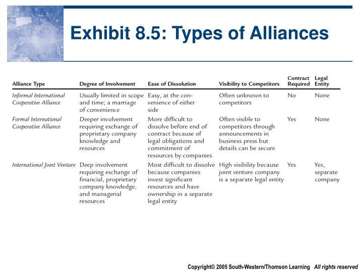Exhibit 8.5: Types of Alliances