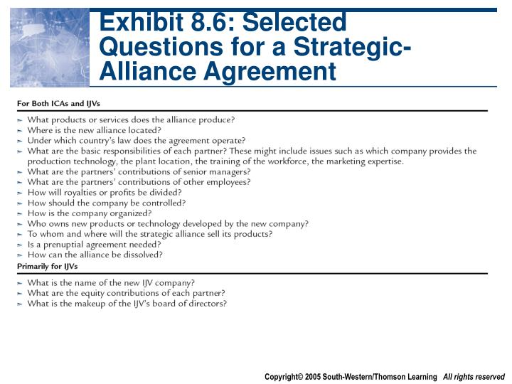 Exhibit 8.6: Selected Questions for a Strategic-Alliance Agreement