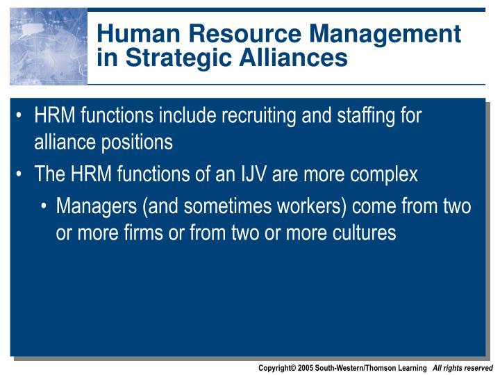 Human Resource Management in Strategic Alliances