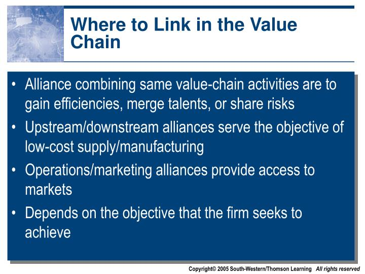 Where to Link in the Value Chain