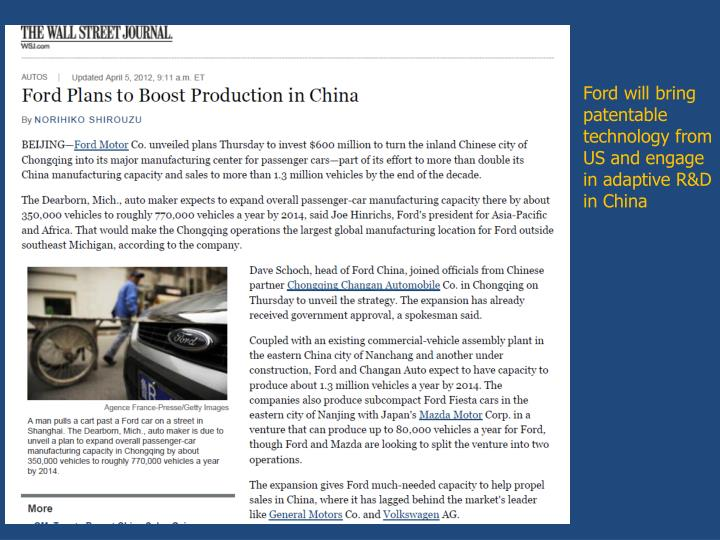 Ford will bring patentable technology from US and engage in adaptive R&D in China