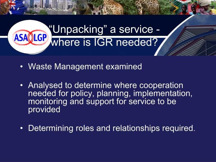 """Unpacking"" a service -"