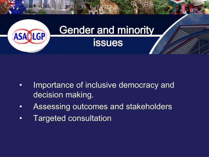 Gender and minority