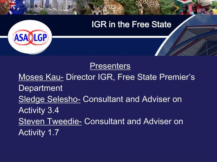 IGR in the Free State