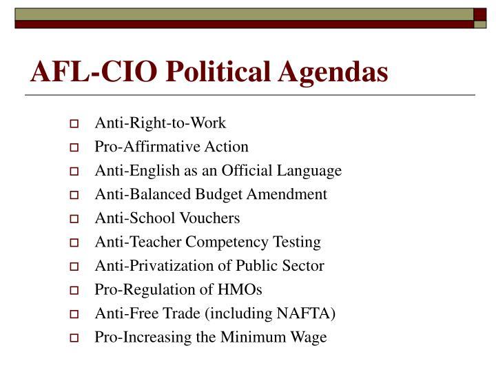 AFL-CIO Political Agendas