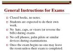 general instructions for exams