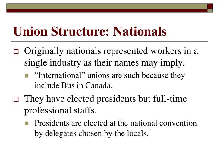 Union Structure: Nationals