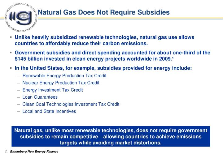 Natural Gas Does Not Require Subsidies