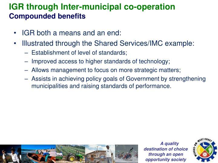 IGR through Inter-municipal co-operation