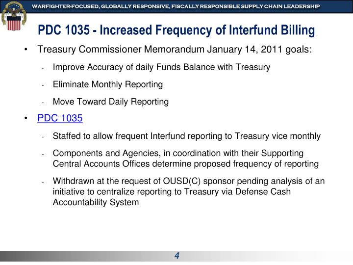 PDC 1035 - Increased Frequency of Interfund Billing
