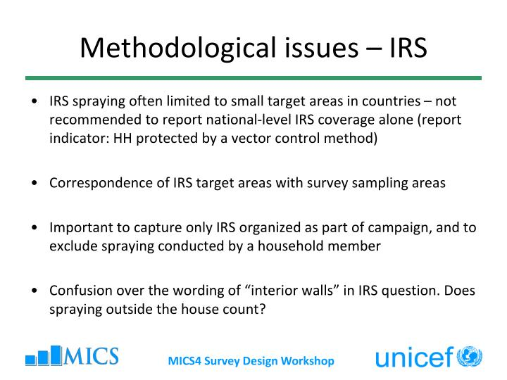 Methodological issues – IRS
