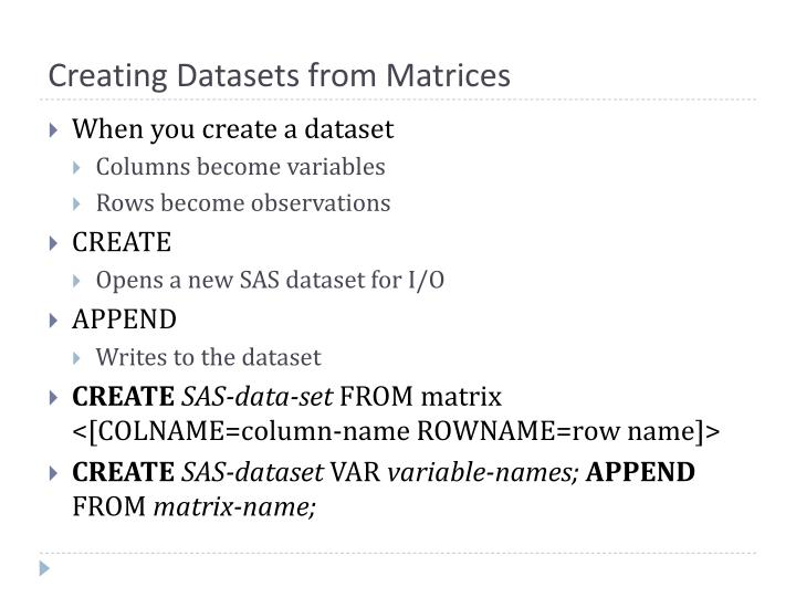 Creating Datasets from Matrices