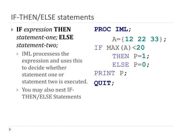 IF-THEN/ELSE statements