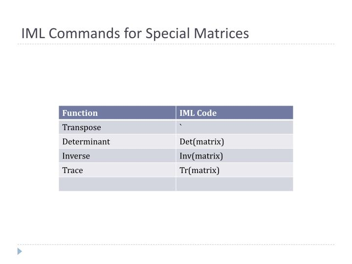 IML Commands for Special Matrices