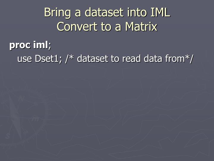 Bring a dataset into IML