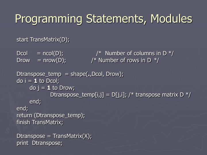 Programming Statements, Modules