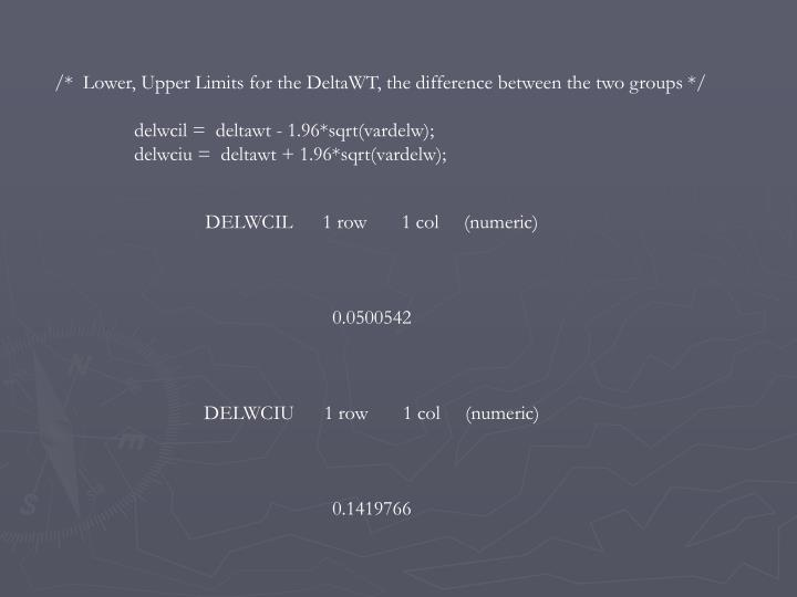 /*  Lower, Upper Limits for the DeltaWT, the difference between the two groups */